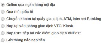 cách nạp tiền vào tài khoản vtc365 qua ngân hàng