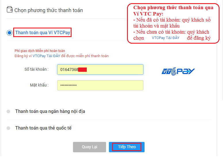 Quý khách chọn phương thức thanh toán qua ví VTC Pay