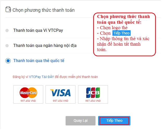 Quý khách chọn phương thức thanh toán qua thẻ quốc tế.