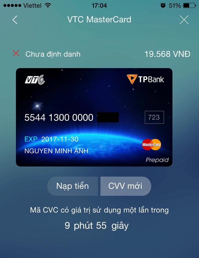 mã CVC động trên thẻ mastercard của VTCPay