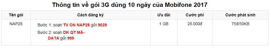 Gói 3G Mobifone 10 ngày