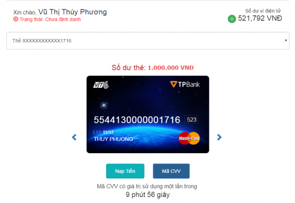 Hình ảnh mình họa giao diện thẻ TPBank – VTC MasterCard sau khi được nạp tiền kích hoạt