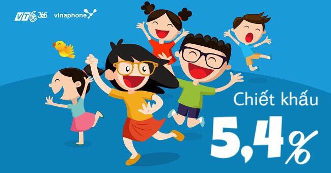 Mua thẻ điện thoại Vinaphone tại VTC365 chiết khấu 5,4%