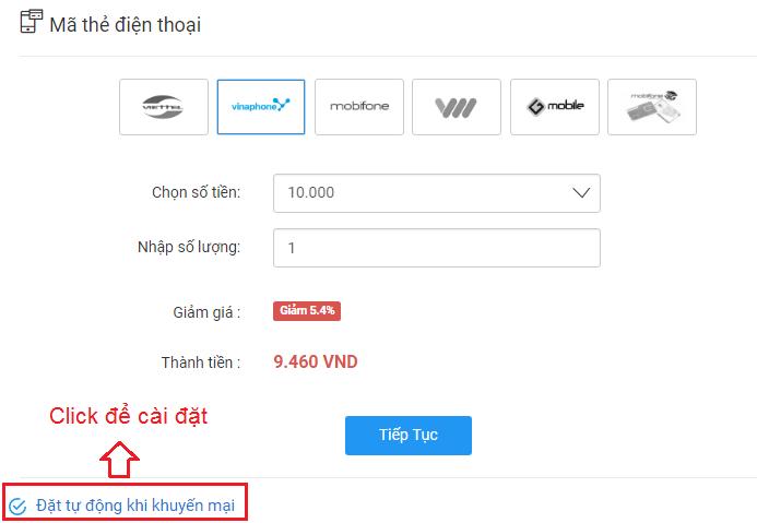 Nạp tiền tự động khi có khuyến mãi VTC Pay