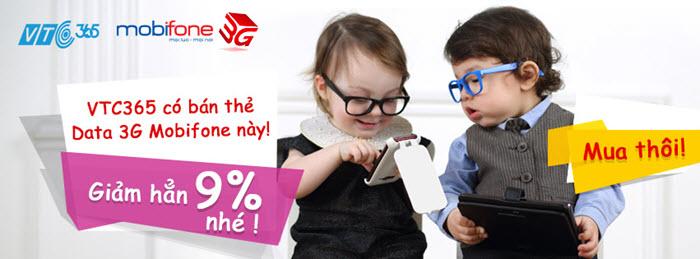 Mua thẻ data 3g mobifone tại VTC365 chiết khấu 9%
