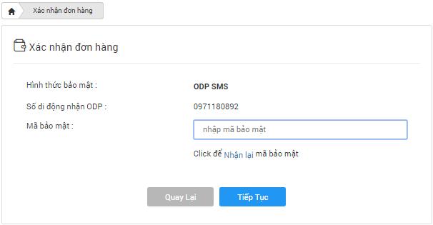 Nhập mã OTP xác nhận thanh toán