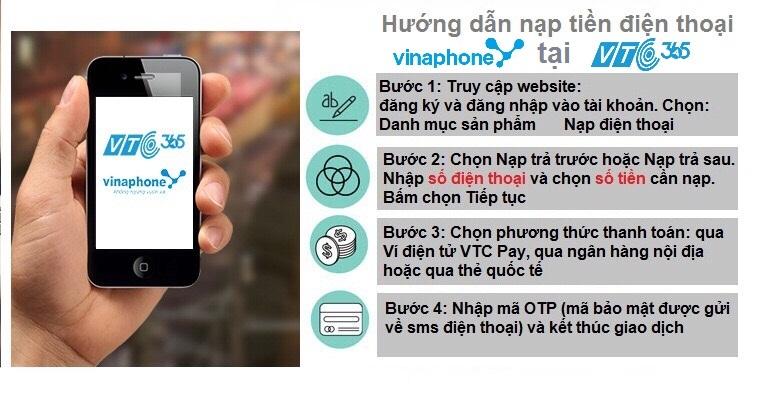 Hướng dẫn nạp tiền điện thoại Vinaphone trực tuyến tại VTC Pay