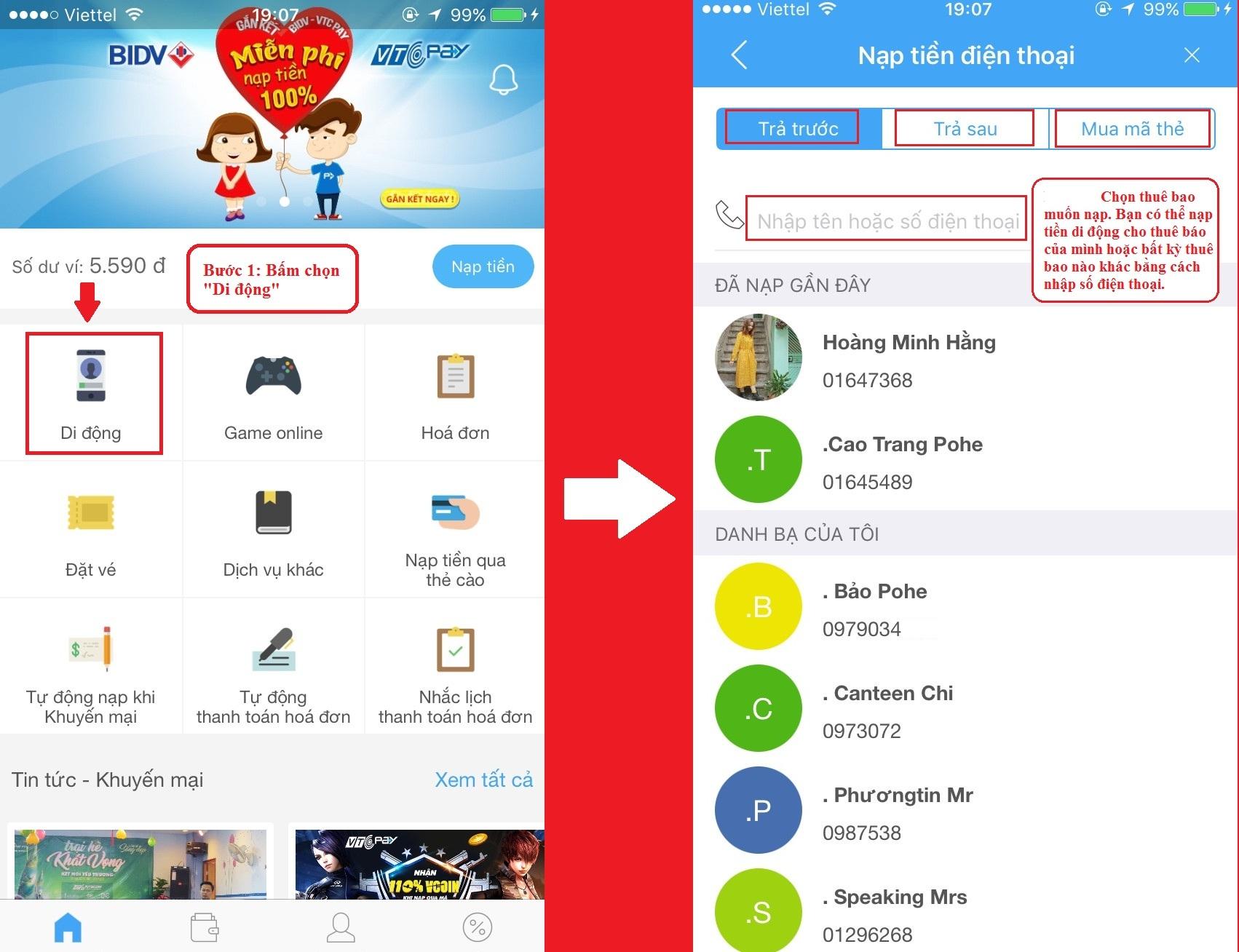 Hướng dẫn nạp tiền điện thoại tại app VTC Pay