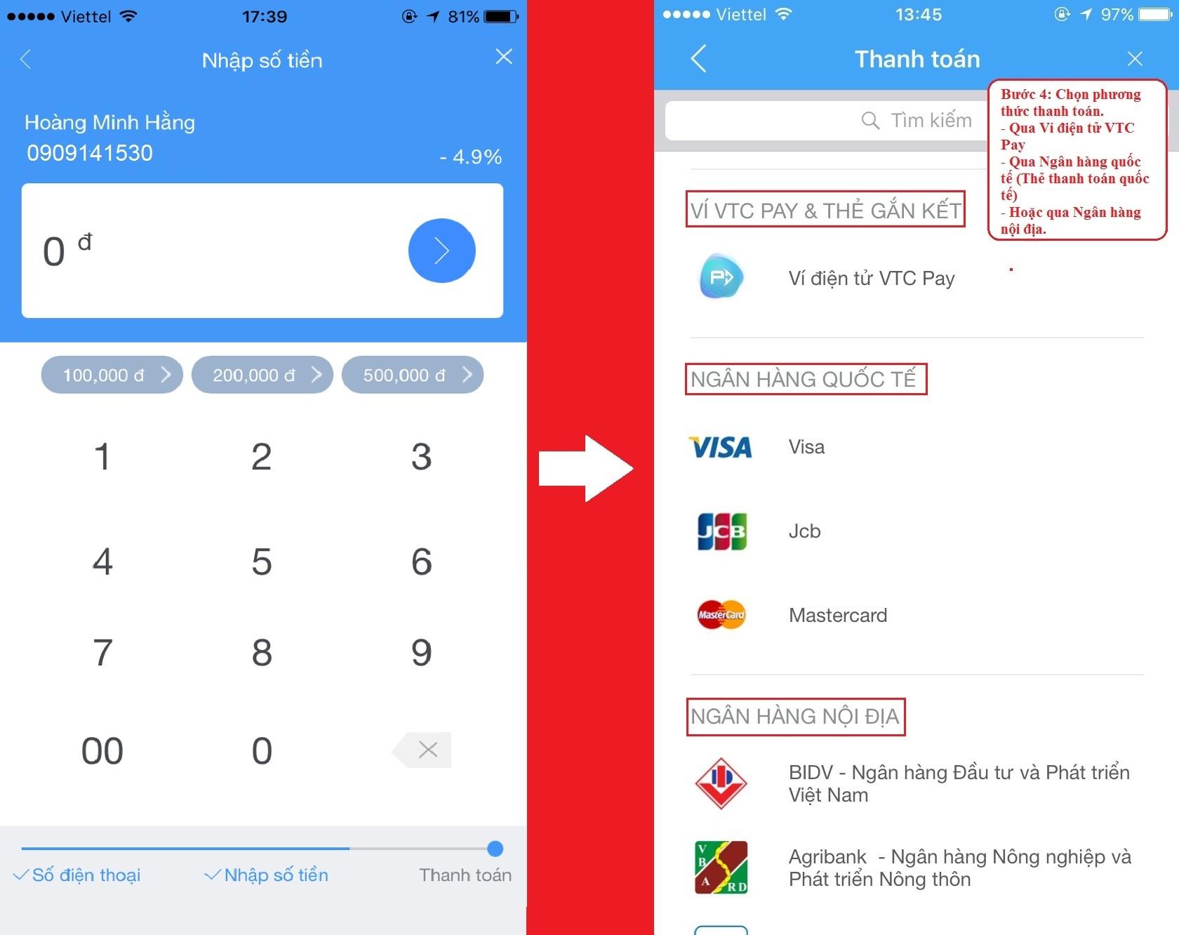 Hướng dẫn nạp tiền điện thoại tại VTC Pay