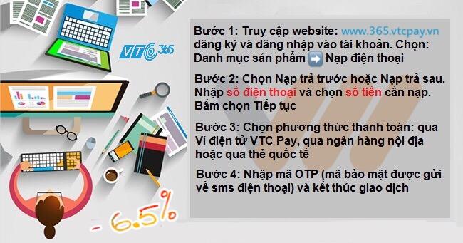 4 bước nạp tiền điện thoại Vietnamobile trực tuyến tại VTC Pay