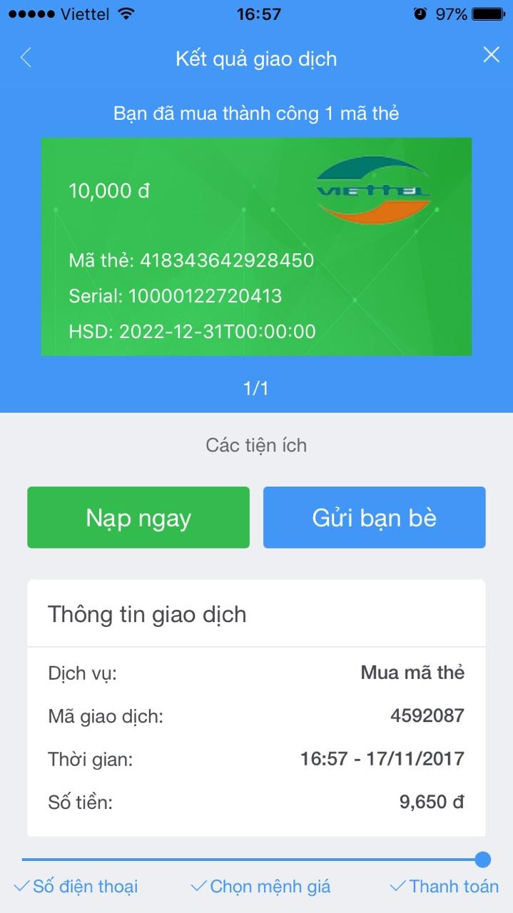 Mã nạp thẻ Viettel app VTC Pay