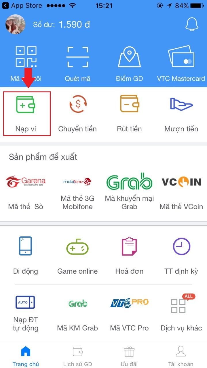 Nạp tiền tài khoản VTC Pay