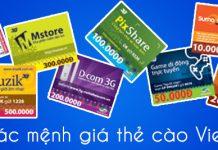 Các mệnh giá thẻ cào Viettel được chấp nhận thanh toán online và offline