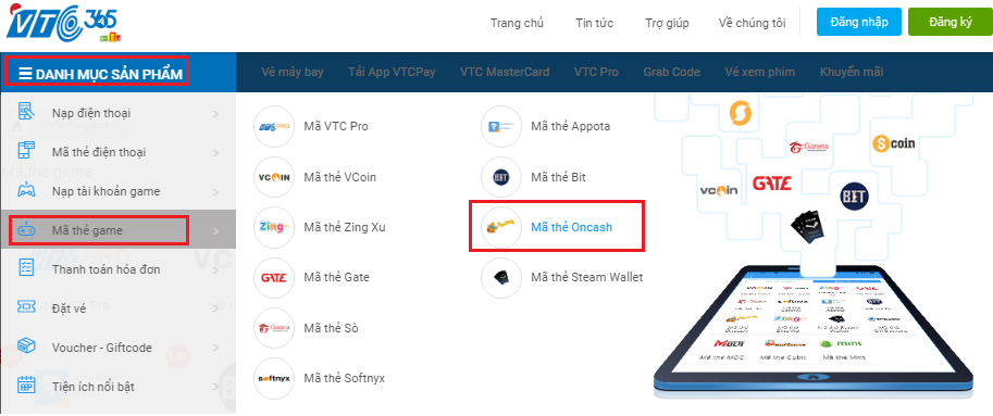 Mua thẻ Oncash tại VTC Pay chiết khấu 6%