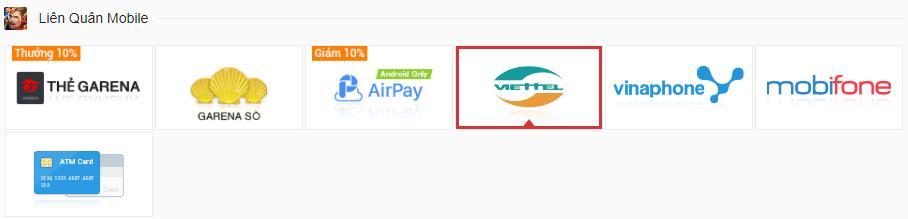 Hướng dẫn nạp thẻ liên quân bằng thẻ điện thoại Viettel