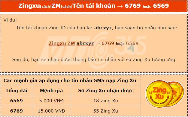 Cú pháp nạp Zing Xu bằng SMS 2017