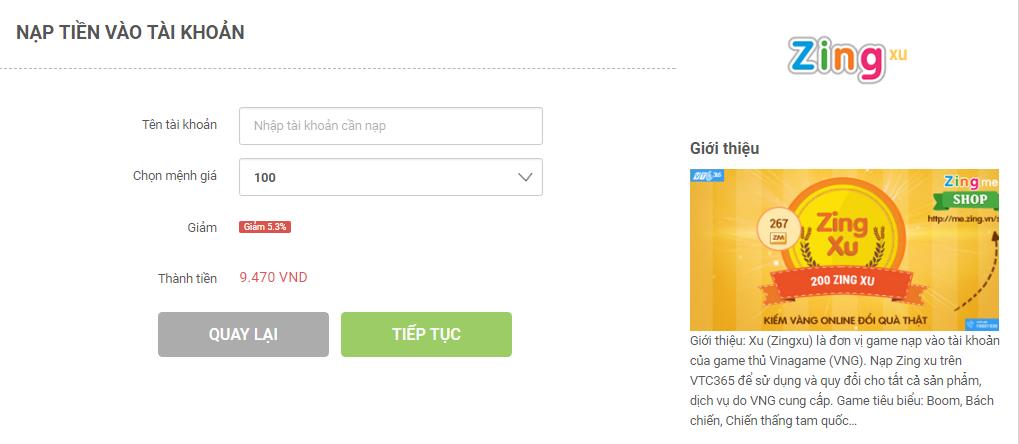 Nạp Zing Xu chiết khấu 5.3% tại VTC Pay