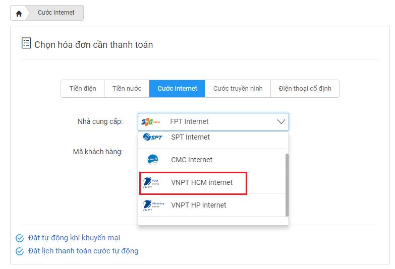 Hướng dẫn thanh toán cước internet VNPT tại TP.Hồ Chí Minh