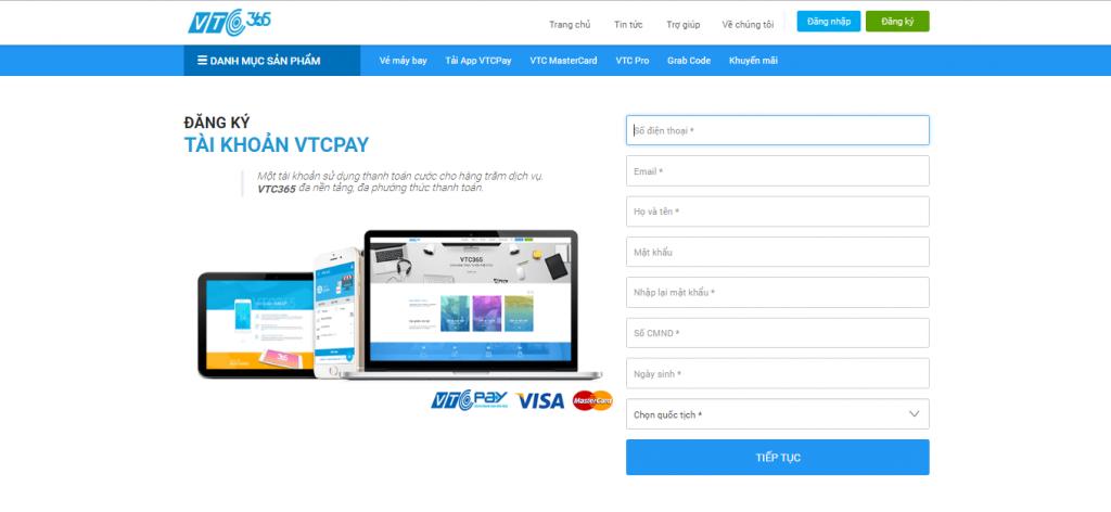 Đăng ký tài khoản ví điện tử VTC Pay
