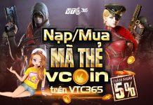 Nạp Vcoin giá rẻ chiết khấu 5% tại VTC Pay