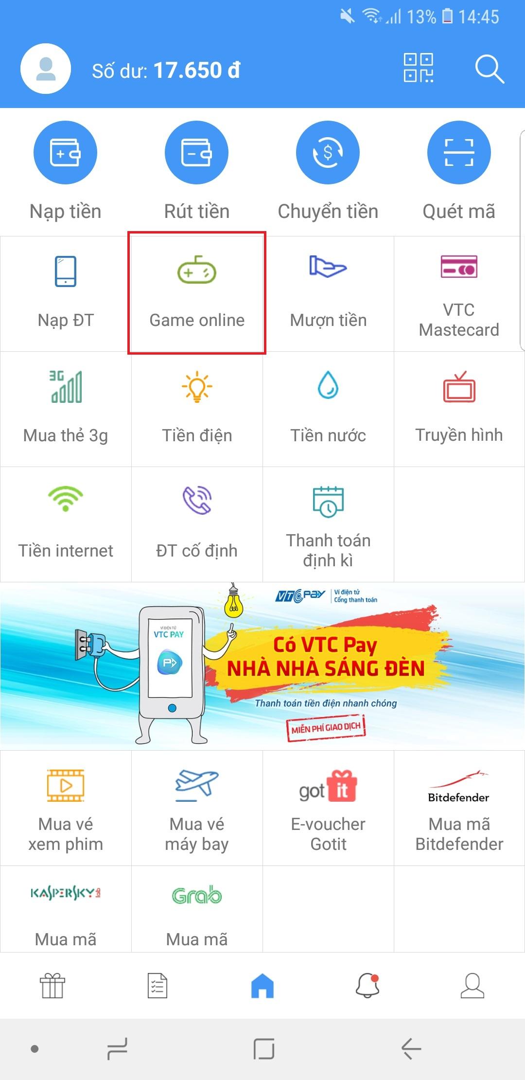 Mua thẻ Sohacoin với ứng dụng ví điện tử VTC Pay