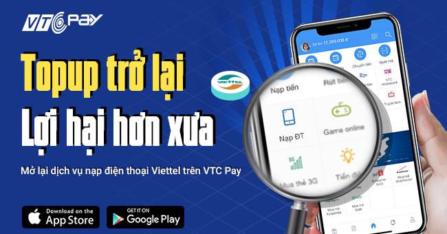 nap tien dien thoai Viettel tren VTC Pay