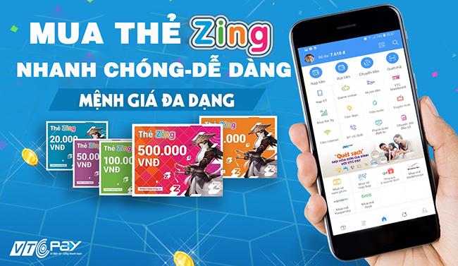 Mua thẻ Zing xu tai VTC Pay nhanh chóng - dễ dàng, mệnh giá đa dạng