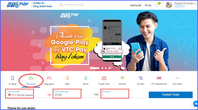 huong dan mua the Garena nap lien quan mobile tren web 2