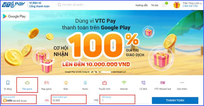 huong dan nap the Scoin online tai vtc pay 2