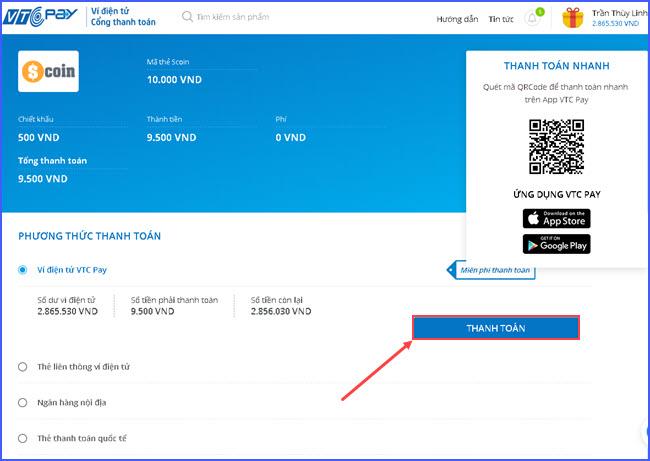 huong dan nap the Scoin online tai vtc pay 3