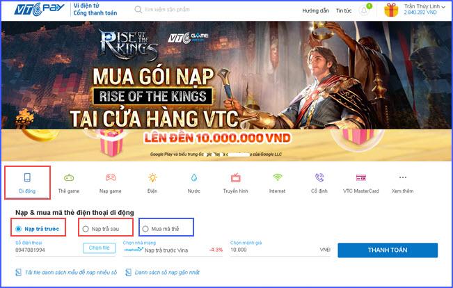 huong dan nap tien dien thoai online chiet khau cao 2