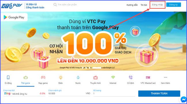 huong dan mua the zing online gia re tai vtc pay 1