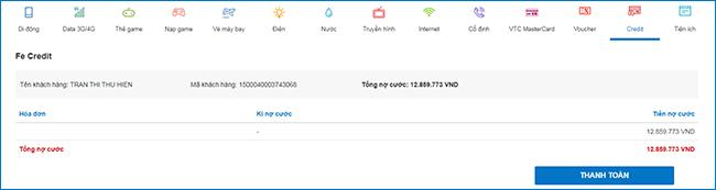 Thanh toán mọi khoản vay trong tích tắc với Ví VTC Pay