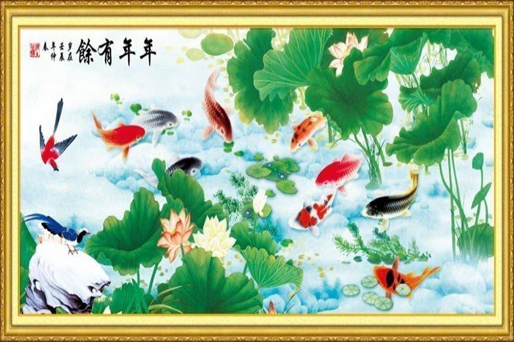tranh phong thủy cho người mệnh thủy tranh cá chép