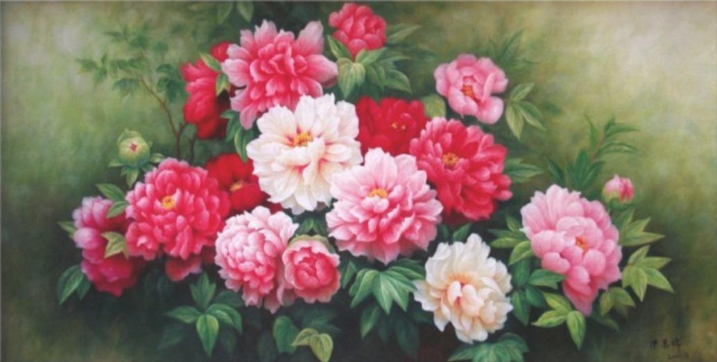 tranh phong thủy cho người mệnh Mộc hoa mẫu đơn